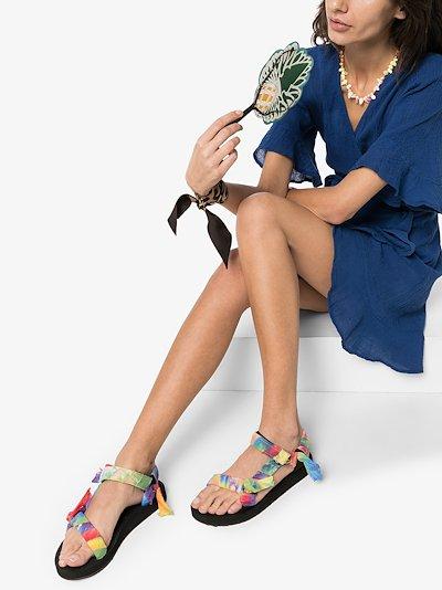 multicoloured bandana knotted flat sandals