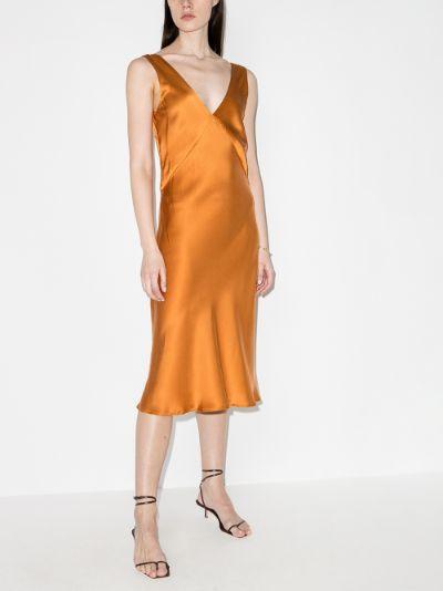 Bordeaux silk midi dress