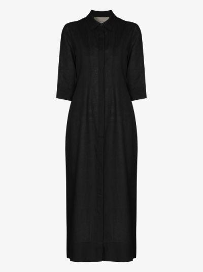 New York organic linen midi shirt dress