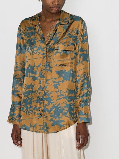 Paris leaf print silk pyjama top