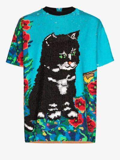 Cat Sequinned T-Shirt