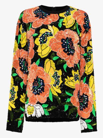 floral sequinned sweatshirt