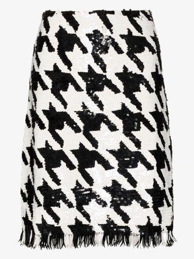 Sequinned houndstooth skirt