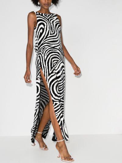 zebra sequinned gown