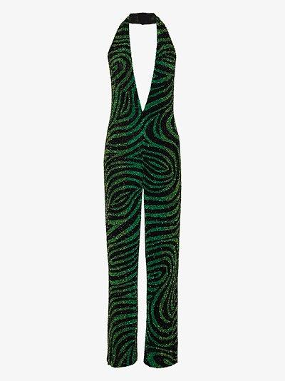 zebra sequinned halterneck jumpsuit