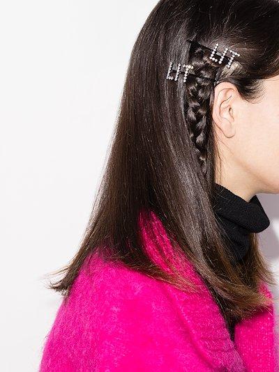 silver tone Lit crystal hair clip set