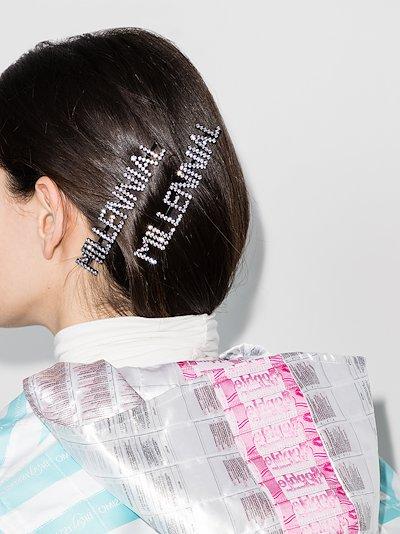 silver tone millennial crystal hair clip set