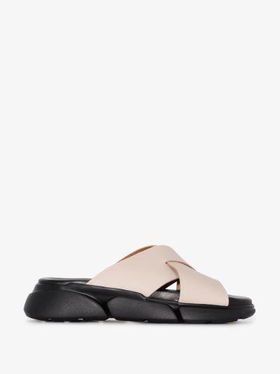 Grey Sovereto Flatform Leather Sandals