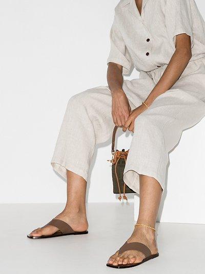 khaki Merine leather sandals