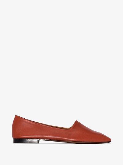 Orange Andrano leather pumps