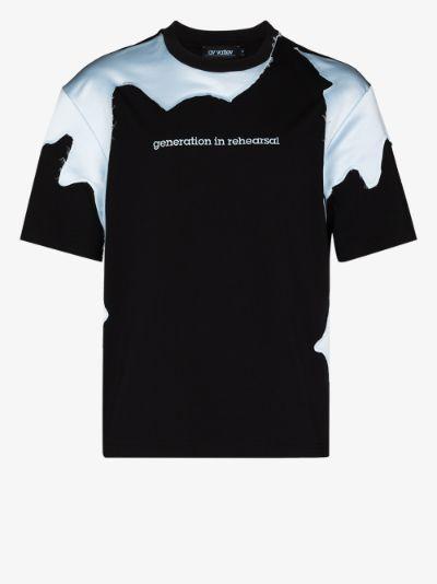 panelled slogan T-shirt
