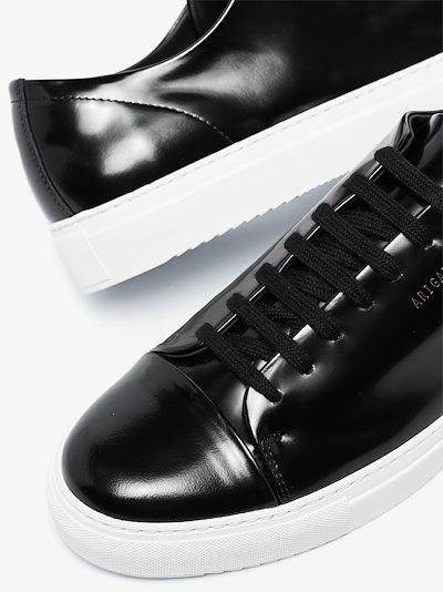 black Cap Toe patent leather sneakers