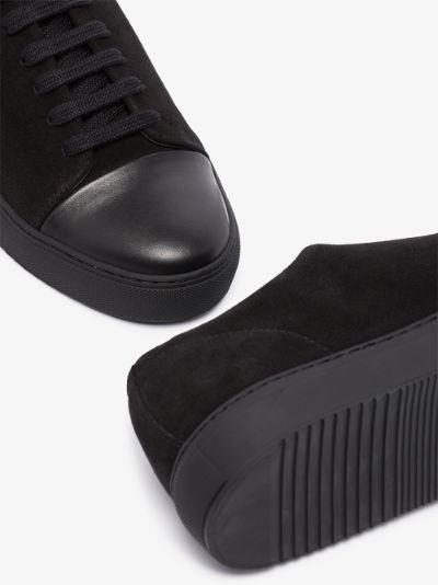 black cap toe suede sneakers