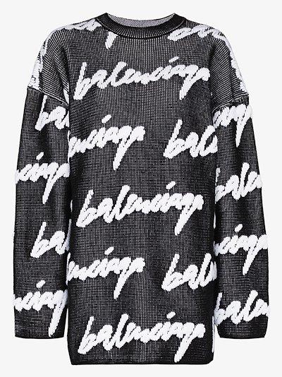 3D scribble logo knit sweater