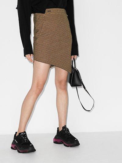 asymmetric houndstooth skirt