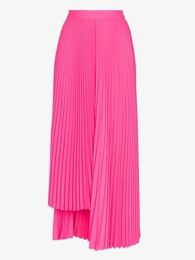 asymmetric pleated midi skirt