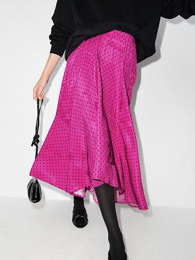 asymmetric polka dot midi skirt