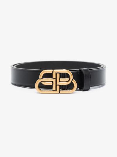 Black BB buckle leather belt