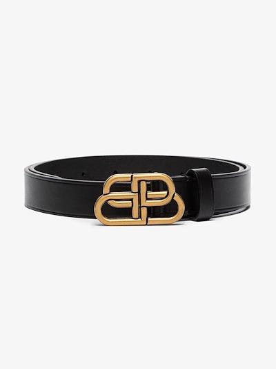 black BB logo leather belt