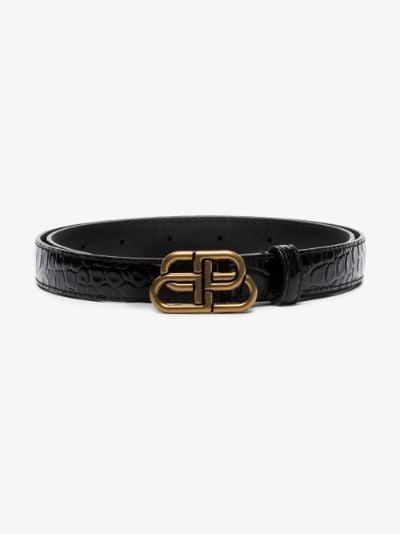 black BB mock croc leather belt