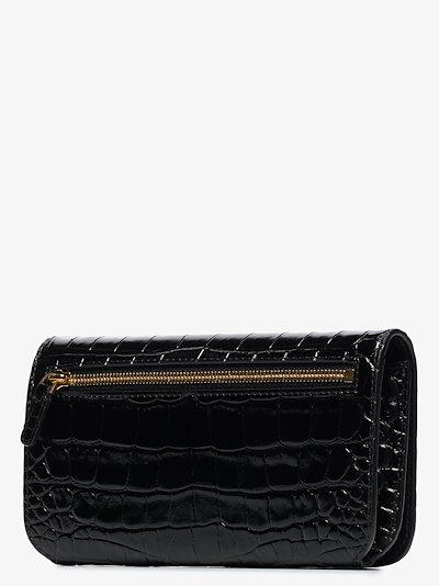 black BB mock croc phone bag