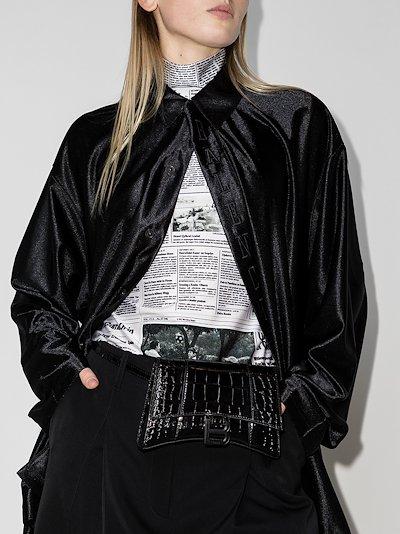 Black Hourglass Mock Croc Leather cross body Bag