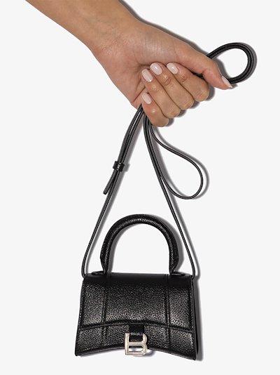 black hourglass XS leather mini bag