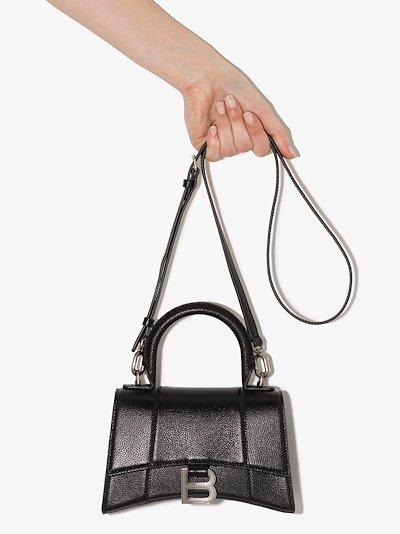 black Hourglass XS leather top handle bag