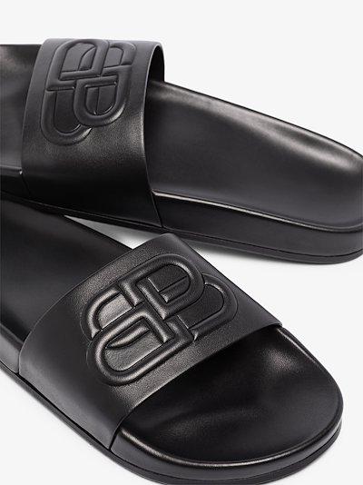 black leather slides