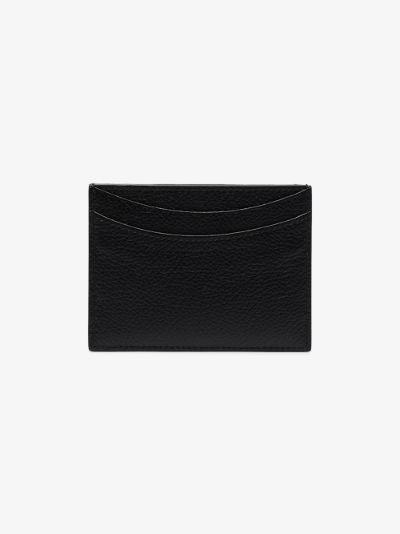 Black logo leather card holder
