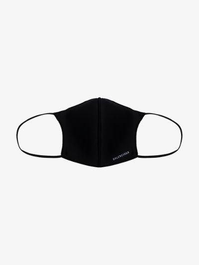 black logo print face mask