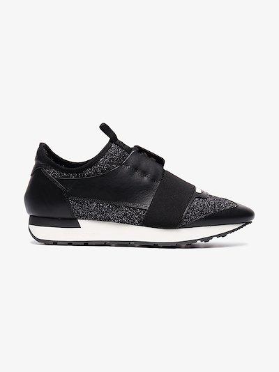 black race runner glitter sneakers