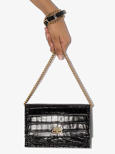 Black Sharp mock croc shoulder bag
