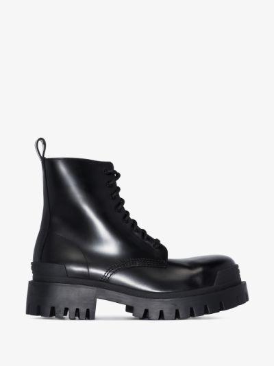 black Strike leather combat boots