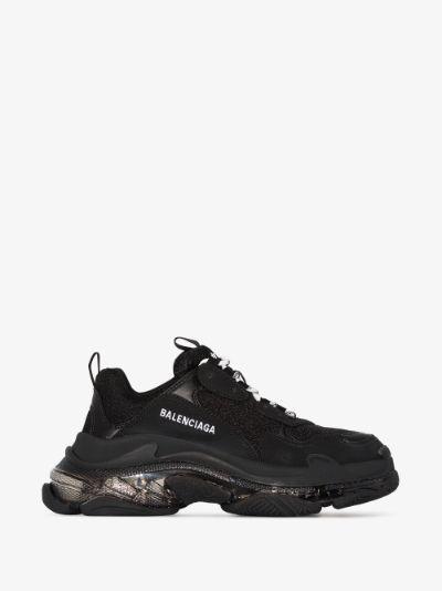 black Triple S clear sole sneakers