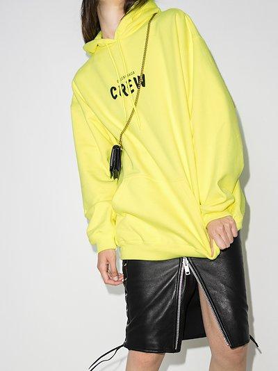 crew print cotton hoodie