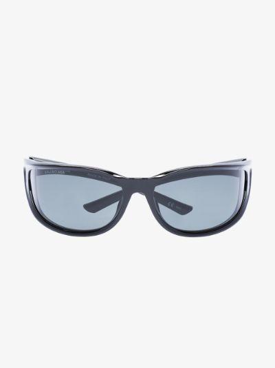 black Blow Rectangle Sunglasses