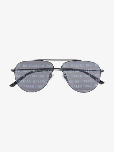 black Invisible XXL logo aviator sunglasses