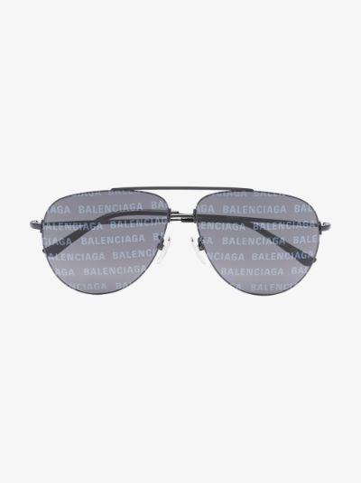 black logo lens aviator sunglasses