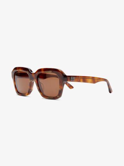 brown logo print square sunglasses