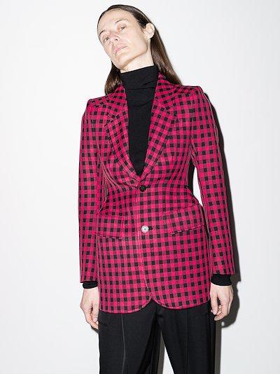 gingham-check structured blazer