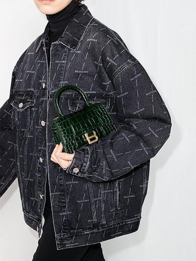 green Hourglass XS mock croc top handle bag