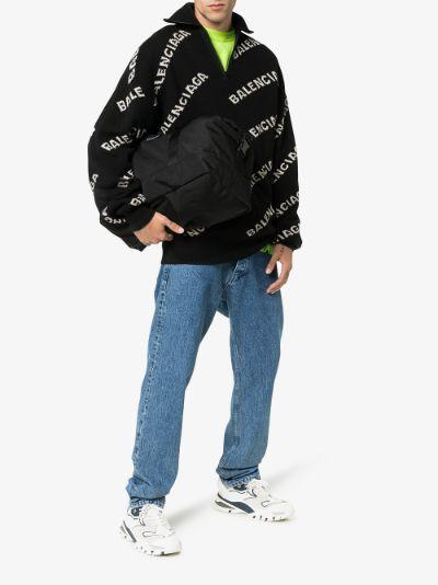 logo pattern half zip jumper