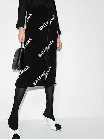 logo print midi pencil skirt