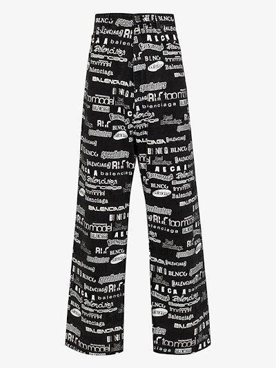 logo print wide leg jeans