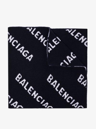 navy and white logo intarsia scarf