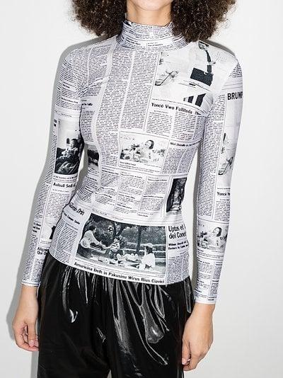 newspaper print turtleneck top