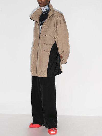 Oversized hooded track jacket