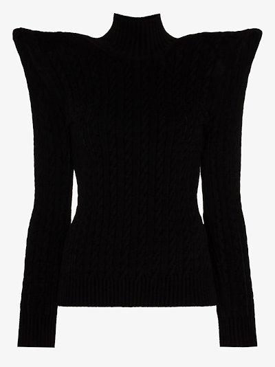 pagoda shoulders velvet sweater