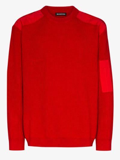 panelled logo sweater